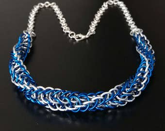 Chainmail Necklace Silver Persian Box 5 in 1 Twist Aluminium Handmade Chainmaille Women Gifts Blue