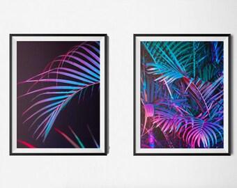 Set of 2 Palm Decor, Palm Pink Print, Palm Poster, Palm Leaf Photography, Palm Leaf diptych, Pink Wall Art , Pink Palm Leaf Print, Printable