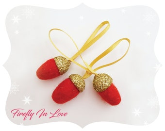 Christmas decorations, SET OF 12, Acorn decoration, Felt Christmas ornaments, Felt acorn, Christmas acorn, Fall decor, Thanksgiving decor