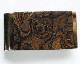 Money Clip Brienzanite Gemstone Inlay Spring Steel Thin Flat