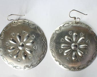 Silver Heart Handstamped Earrings Round Large Sterling Handworked
