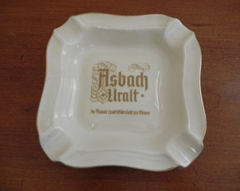 Vintage Ashtray From Germany Asbach Uralt Advertising Brandy Creamy White with Gold trim