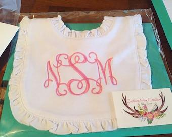 Baby girl monogrammed ruffle bib, pink ruffle bib, white ruffle bib, monogrammed bib