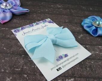 Pinwheel Hair Bow Clip - Teals
