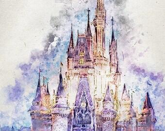 disney castle, digital print, printable art, wall art, home decor, wall art decor, colourful, castle, digital art, birthday gift
