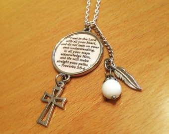 Proverbs 3 Cross Charm Necklace