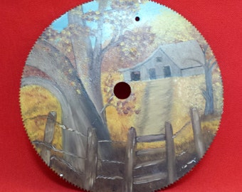 Vintage Hand Painted onto a Circular Saw Blade --Arkansas Barn