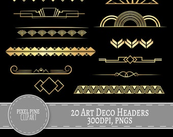 Art Deco Dividers Black and Gold, 20 PNGs, Commercial Use, gold gatsby headers, 20 gold digital dividers, diy twenties scrapbooking