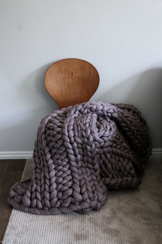 60x80 Merino Wool Thick Knit Blanket Large Chunky