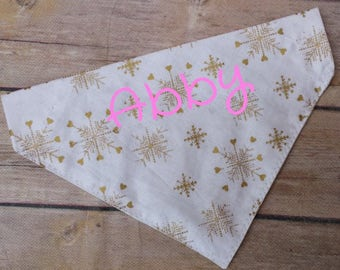 Dog Name Bandana / Cat Name Bandana / Personalized Bandana / Gold Dog Bandana / Heart Cat Bandana / Pink Dog Bandana / Over the Collar