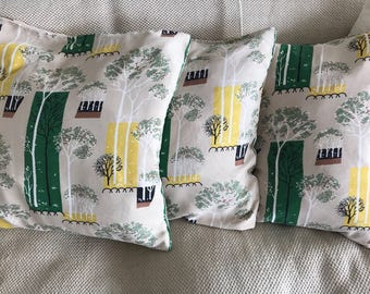 3 original mid century vintage cushion covers with stylised modernist garden trees print