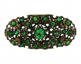 1930s Czechoslovakian Green Rhinestone Vintage Brooch