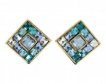 Givenchy Earrings 1980s Blue and Green Rhinestone Vintage Earrings