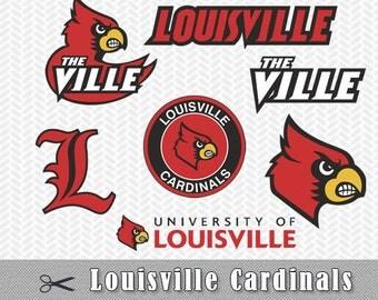 Louisville Cardinals SVG PNG Vector Files Silhouette Cameo Cricut Design Template Stencil Vinyl Decal Tshirt Heat Transfer Clipart Scrapbook