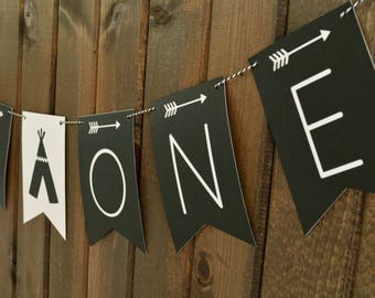 Wild One Banner - TeePee Banner - Tribal Banner - Arrows Banner - Happy 1st Birthday Banner - Aztec Banner - BoHo Banner - Wild One Birthday