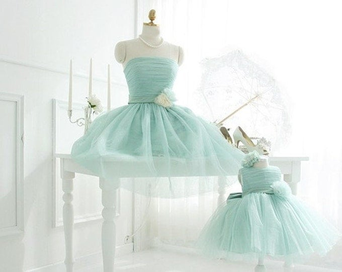 Mint Mother Daughter matching dress Mommy and Me Tutu dress Mom Baby Dress with Flower Dress for Wedding Ball Gowns Bridesmaid dress