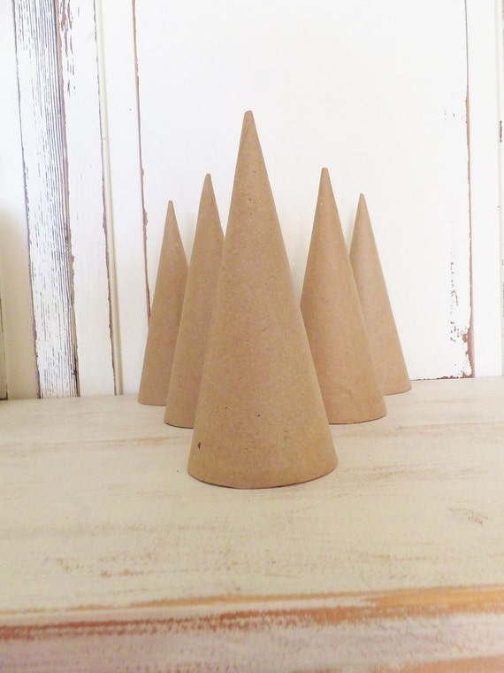 Paper mache cones 7 set of 6 craft supply holiday for Cardboard cones for crafts