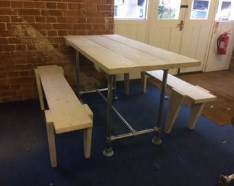 Scaffold Board Table with Benches