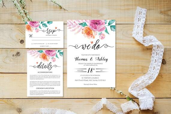 Flower wedding invite_26,Printable Wedding Invitation Suite,Wedding Invite Set,Wedding Printable,Calligraphy