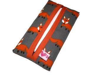 Kleenex Holder, Kleenex cover, Travel Tissue Pouch, Tissue Case, Tissue holder, Foxes Fabric, Gift for Teacher, Fox