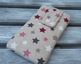 iPhone  7 case, iphone 7 Pouch, iphone 6 sleeve, iphone 5 case, iphone 5 cover, fabric pouch iphone, ipod, Stars fabric, sister gift