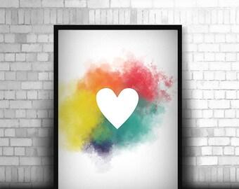 Rainbow Heart photo print design