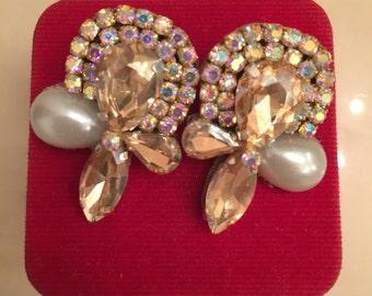 Crystal earrings, Gold Earrings, Pearl Earrings, Handmade Earrings, Bride Accesories, Bridesmaids Earrings, Crystal Bridal Earrings