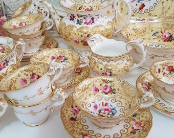 19th Century English Staffordsire Tea Set Yellow With Roses and Gold Gilt 23 Pieces