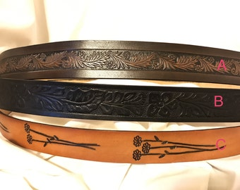 Solid leather belt with a Pattern