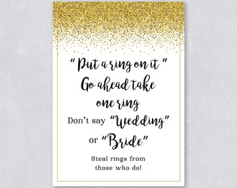 Put a ring on it / Gold Glitter Confetti / Bridal shower game / Gold Confetti / Sparkle / DIY Printable / INSTANT DOWNLOAD