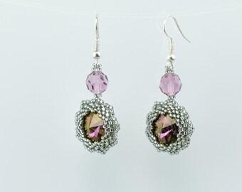 SALE! Swarovski purple crystal hook earrings, Dangle earrings, Crystal earrings, Flower earrings, Romantic earrings