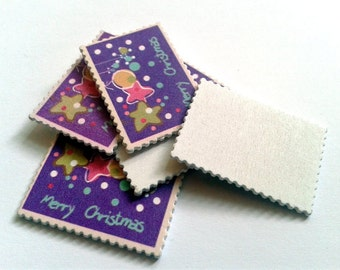 10 stamps wooden Merry Christmas