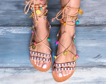 "Boho Sandals ""Scabiosa"", Handmade Greek leather, beaded sandals, bohemian gladiator sandals, hippie sandals, bejeweled sandals, embellished"