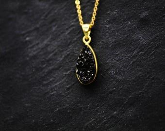 Necklace gold plated Quartz Black quartz / quartz quartz teardrop necklace