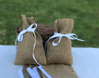 Burlap Favour Bags for Weddings, Birthdays, Baby Shower- set of 6.  Can be customised