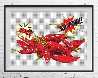 Chilli peppers print, Chilli peppers poster, Chilli peppers art, kitchen print, kitchen art, kitchen pop art, pop art poster, pop art print