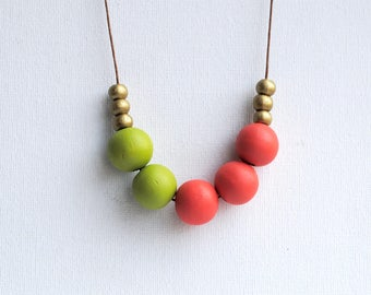 Chunky Geometric Necklace, Boho necklace, Statement Necklace, Bohemian Jewelry, Handmade necklace, Wooden necklace Green and Tomato red