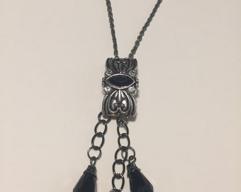 pewter chain with black dangles