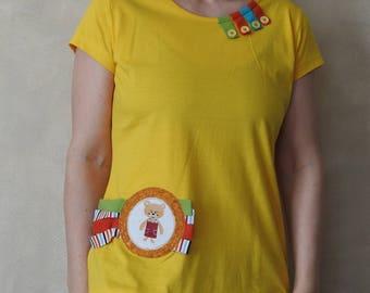 Bear Shirt - Hand Painted T Shirt - Handpainted Shirt - Womens Shirts - Womens T Shirts - TShirts for Women  - T Shirt Women - Funny Tshirts