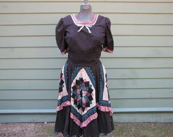 Black Square Dance Dress with Patchwork Quilt Design