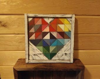 Quilt block wood heart,  Patchwork wood heart, rustic wood heart,  heart wall decor, Wood heart mantle decoration