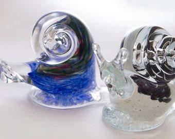 Blown Glass Blue Snail Figurine
