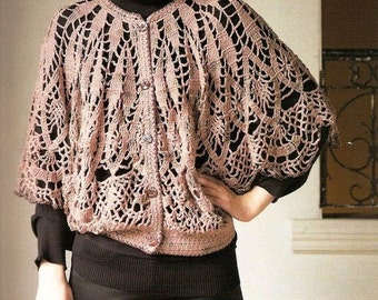 Items similar to Crochet short sleeves ladies cardigan, handmade ...