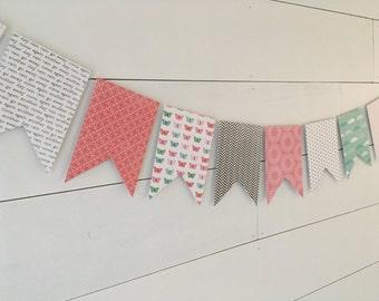 Pink Banner, Aqua Banner, Flag Banner, Flag Bunting, Pink Bunting, Aqua Bunting, Party Banner, Party Bunting, Paper Banner, Paper Bunting