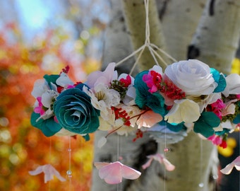 Teal Baby Mobile, Hanging Mobile, Spring Flower Mobile, Baby Chandelier, Nursery Mobile, Silk Flowers, Paper Flowers, Baby Shower Decor