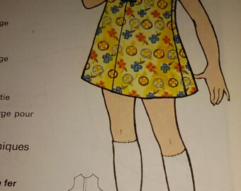 Pattern for dress girl 6 years /Vintage french 70 s