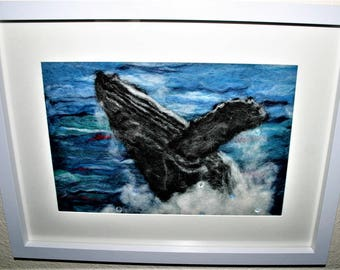 A Whale Of A Time - framed needle felt picture