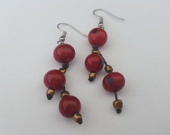 Earrings Acai Red & Wine made in Ecuador