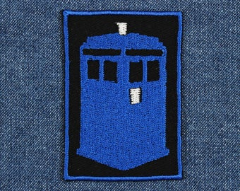 """Blue Police Box Patch – 1.75"""" x 2.5"""" Fandom Patch – Geek Embroidered Patch – Geeky Patch – Nerd Patches – Nerdy Patch – Patches for Jackets"""