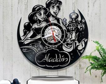 Aladdin Vinyl Clock/Disney Record Clock 1/8/3/Horloge Disney/Wall Vinyl Clock/Wall Record Clock/Horloge Vinyl Disney/Clock for Kids